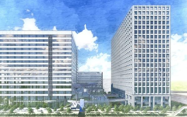 大型オフィス2棟を建設する(完成イメージ)