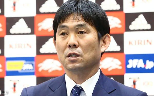 代表メンバーを発表するする日本代表の森保監督=日本サッカー協会提供