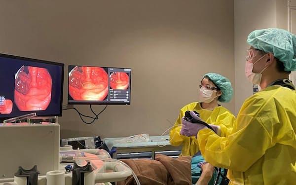 NECは大腸内視鏡向けのAIを発売した(写真は国立がん研究センター中央病院提供)