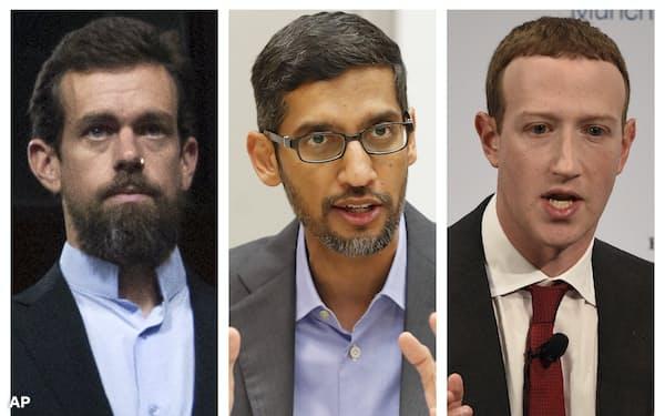 公聴会に参加するツイッターのドーシーCEO(左)、グーグルのピチャイCEO(中)とフェイスブックのザッカーバーグCEO=AP
