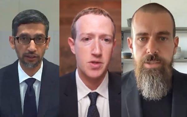 公聴会に出席した米グーグルのスンダー・ピチャイCEO(左)、米フェイスブックのマーク・ザッカーバーグCEO(中)、米ツイッターのジャック・ドーシーCEO(25日、ウェブ中継画面)