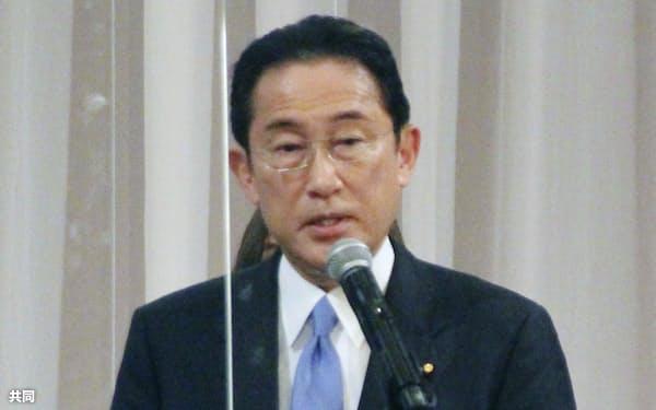 自民党広島県連の定期大会で、あいさつする岸田文雄前政調会長(27日、広島市)=共同