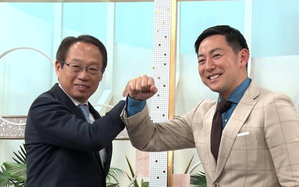 サッカーJ3「FC今治」オーナーの岡田武史氏(左)と富山に街づくり会社を設立した青井茂氏