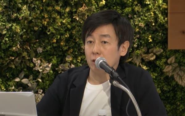 28日、株主総会で議長として議事を進行するサイボウズの青野社長(インターネットのライブ配信画面、東京都中央区)