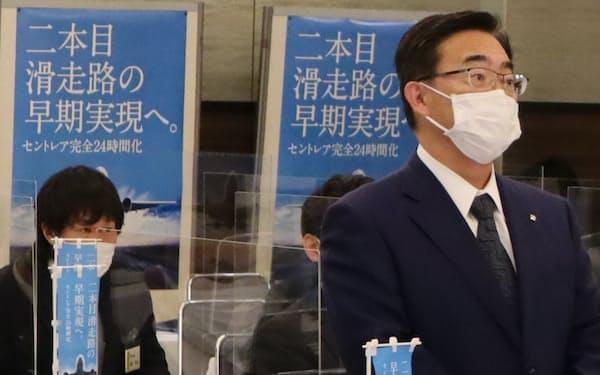 中部空港第2滑走路の早期実現を訴える大村愛知県知事
