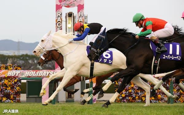 阪神JFを鼻差で競り勝った白毛馬ソダシ=JRA提供