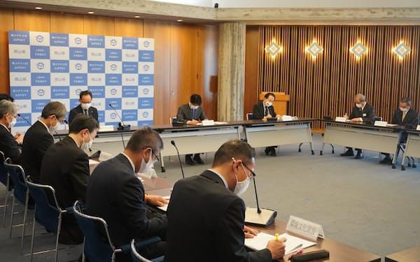 新型コロナウイルスの対策本部会議を開いた(岡山県庁)
