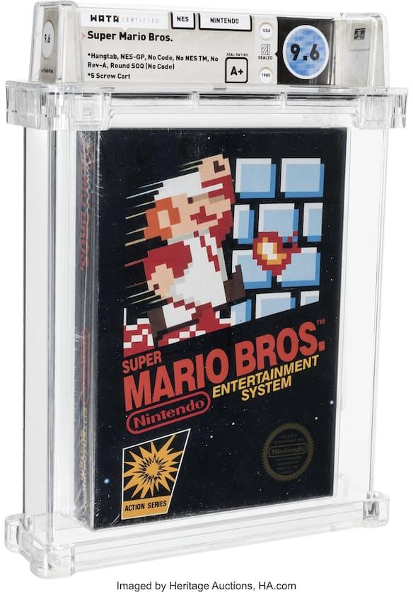 2日落札された未開封の任天堂「スーパーマリオブラザーズ」(ヘリテージ・オークションズ提供)=AP