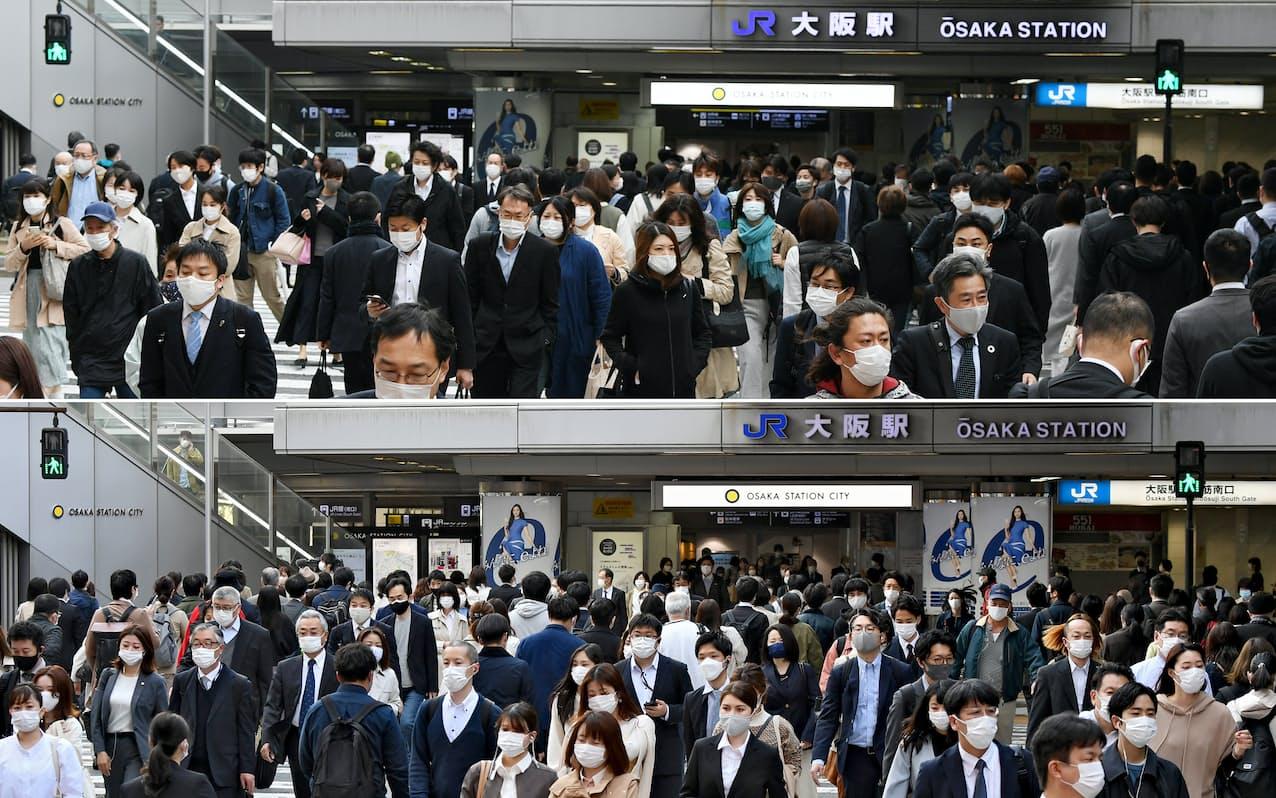マスク姿で通勤する人たち。写真上は5日、同下は2日の午前8時台に撮影。通勤者が減っているようには見られなかった(いずれもJR大阪駅前)=目良友樹撮影