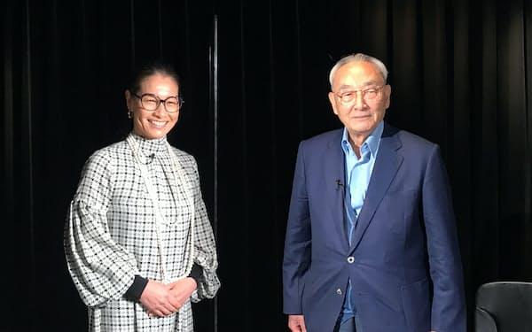 盛田正明・日本テニス協会名誉顧問㊨と伊達公子さん