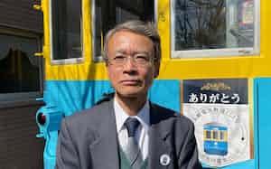 小田原路面電車協会の小室刀時朗会長は長崎からの「里帰り」に尽力した(神奈川県小田原市)