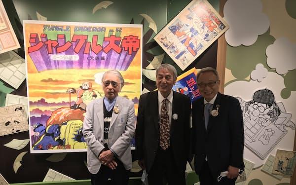 記者会見では藤子さん(写真左)が手塚さんとの思い出を披露した(6日、東京都豊島区)