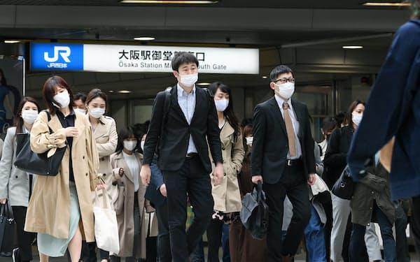 関西は首都圏に比べてテレワークが浸透していない(5日、大阪市北区)