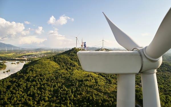 アップルの基金が出資する中国の風力発電施設(同社提供)