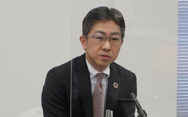 大阪取引所の岩永守幸社長は「流動性の高いマーケットにすることが社長の使命」と語った