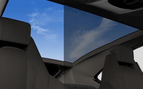 調光可能な自動車サンルーフなど、実用化が進む=企業提供