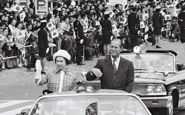 都内をパレードするエリザベス女王㊧とフィリップ殿下(1975年5月)