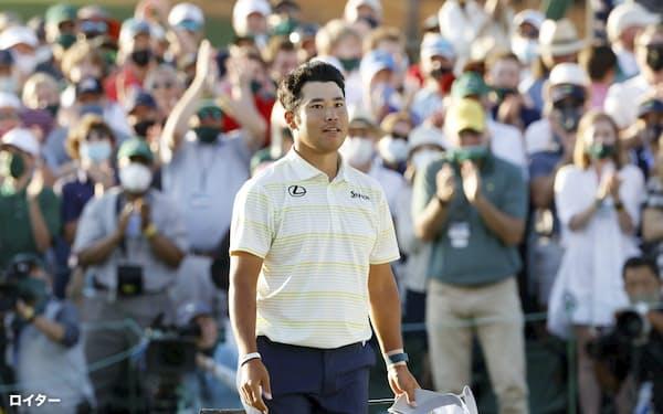 米ゴルフのマスターズ・トーナメントで、日本男子初のメジャー制覇を果たした松山英樹(11日、米ジョージア州のオーガスタ・ナショナルGC)=ロイター
