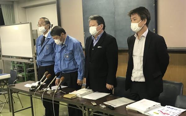 会社更生法の適用を申請した大興製紙の経営幹部(静岡県富士市、1月)