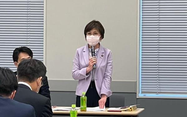 会長に就任した稲田元政調会長(12日、国会内)