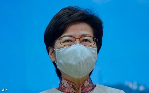 13日、林鄭月娥・行政長官は組織的に棄権や白票を呼び掛ける運動を禁止すると表明した=AP