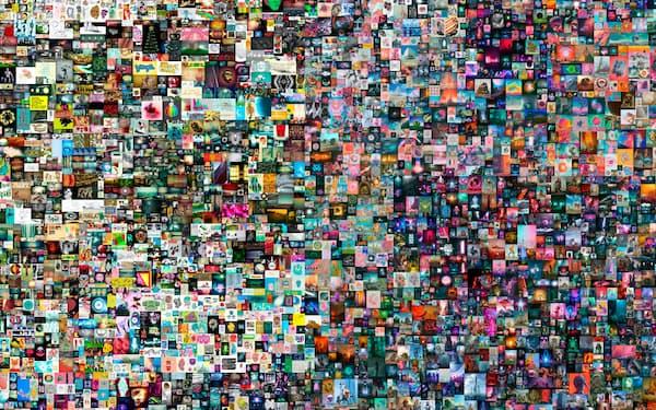 """デジタルアートがNFTを使うことで高額で取引される例が出てきた(アート作家ビープル氏の""""Everydays: The First 5,000 Days,""""クリスティーズ提供=AP)"""