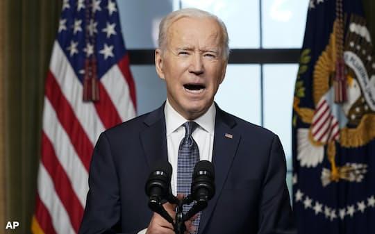 14日、バイデン米大統領はアフガン戦争の目的を達成したと断言した(ワシントン)=AP