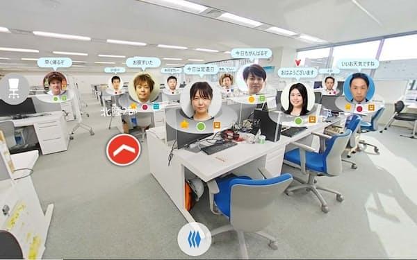 仮想オフィス「360度パノラマビュー」の画面イメージ(出所:日立ソリューションズ・クリエイト)
