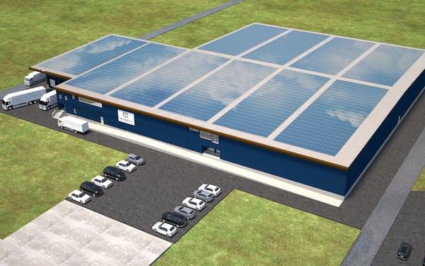 太陽光発電を活用したホウレンソウ工場を建設する(完成予想図)