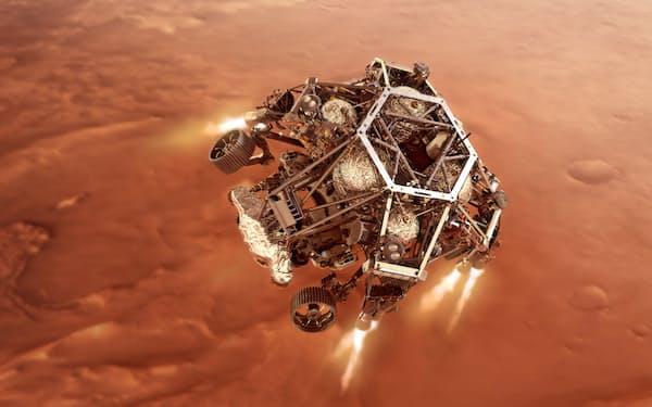 火星に着陸するパーシビアランスの想像図=NASA/JPL-Caltech提供