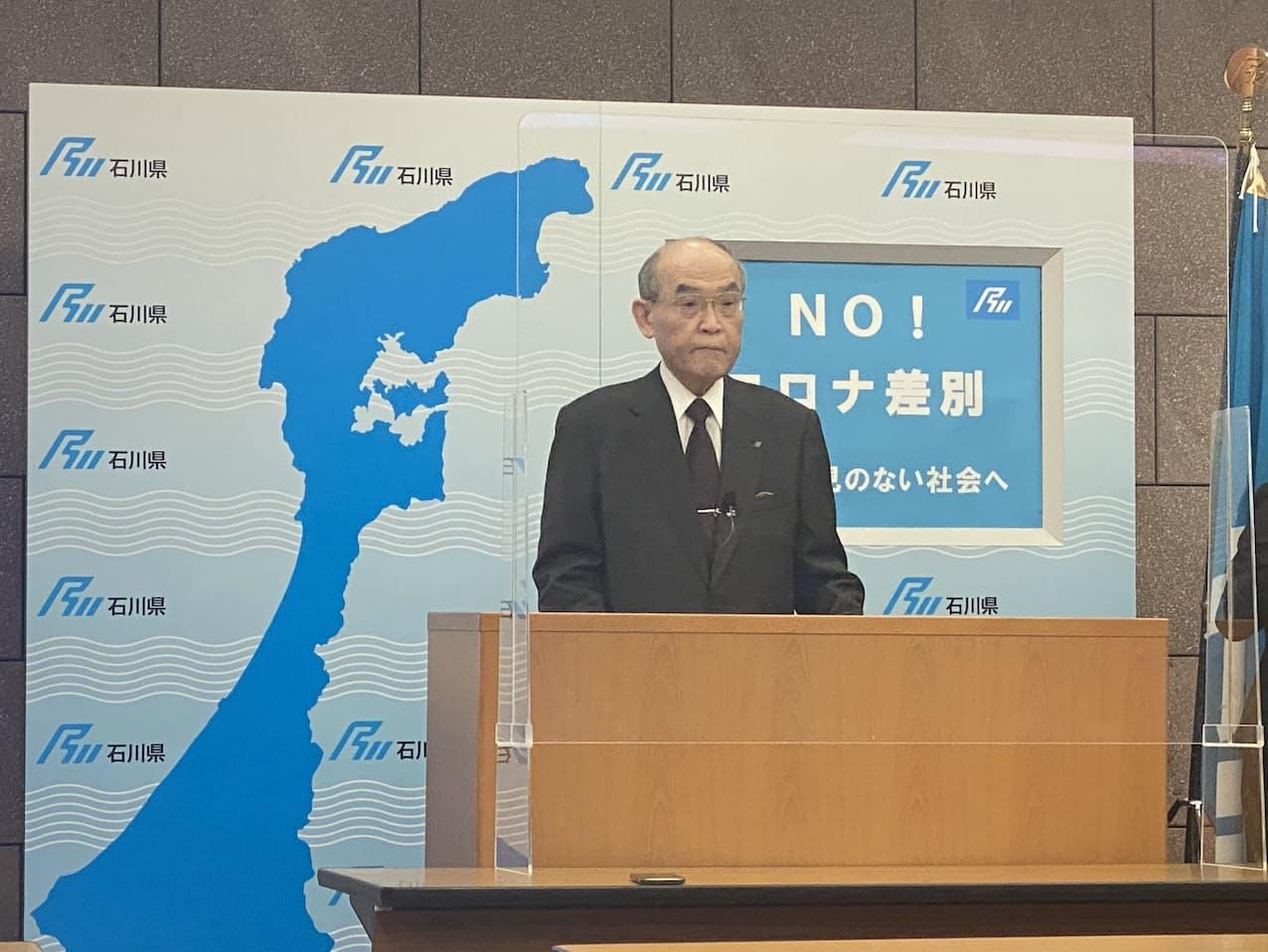 「第4波に入ったと考えざるを得ない」と危機感を示す谷本知事(16日夕、石川県庁)