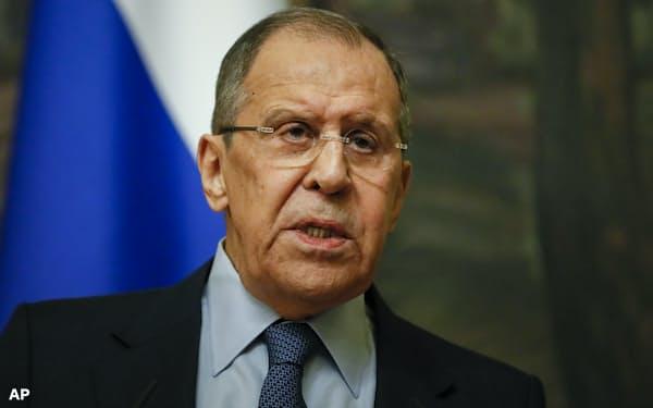 16日、モスクワでの記者会見で米国への制裁を説明したロシアのラブロフ外相=AP