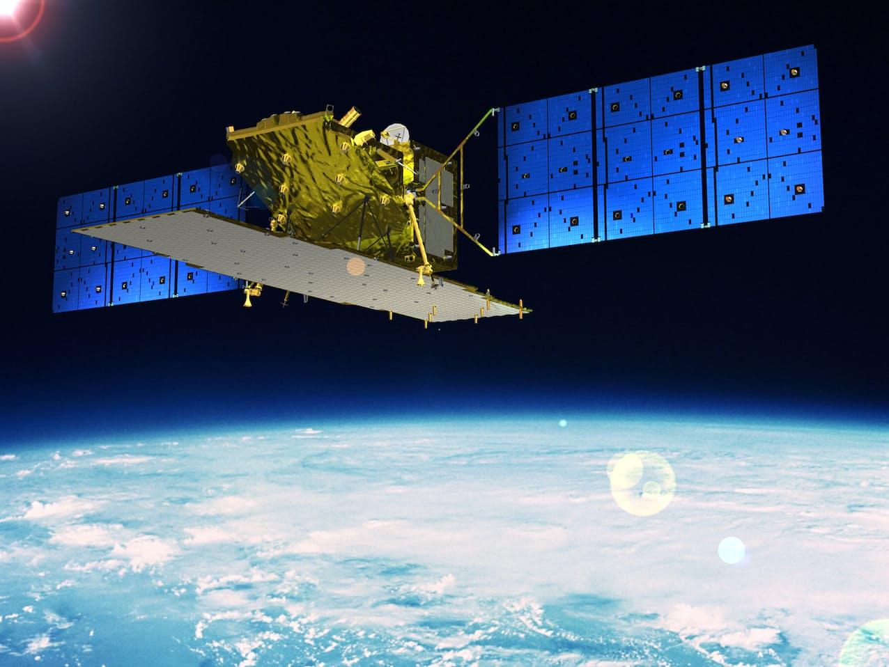人工衛星が取得するデータは活用の幅が広がっている(三菱電機が製造した陸域観測技術衛星「だいち2号」)