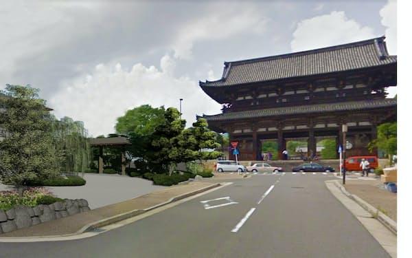 京都市の仁和寺の門前にホテル建設を計画する(左の建物が宿泊施設の完成イメージ)