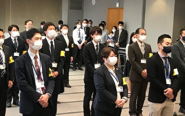 千葉県は飲食店の見回り調査の出発式を開催した(20日、千葉県庁)