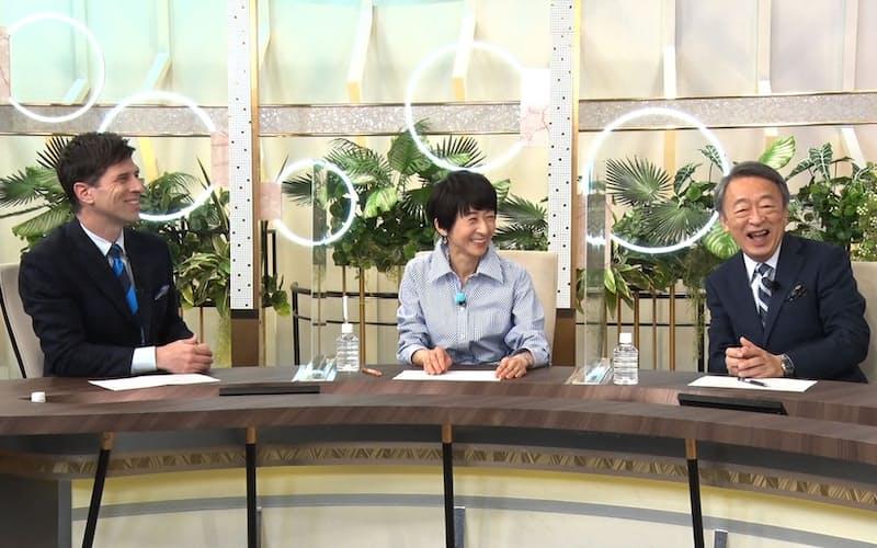 「チーム池上」の講師陣は学生の質問に自らの学生時代を振り返った(右から池上彰氏、増田ユリヤ氏、パトリック・ハーラン氏)=BSテレビ東京提供