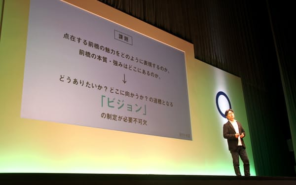 ジンズ社長の田中氏は約4000人の市民にビジョンの必要性を訴えた(16年8月、前橋市)
