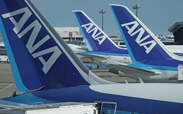 成田空港に並ぶANAの機体