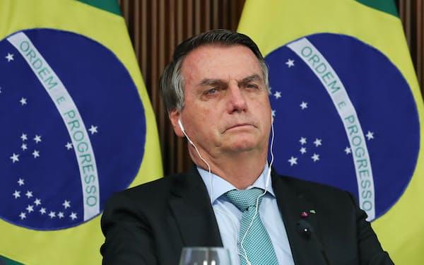 気候変動サミットで演説するボルソナロ大統領(22日、ブラジリア)=ブラジル大統領府提供