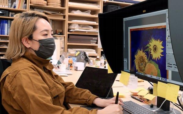 東京芸術大学COI拠点ではデジタル技術を駆使し、ゴッホの「幻の『ひまわり』」の再現が進む=横沢太郎撮影