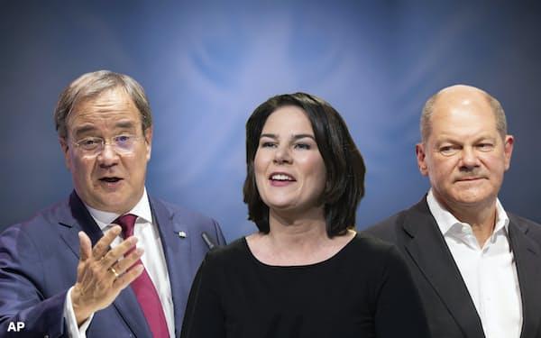 ドイツの9月の総選挙では、緑の党の期待の星である40代の女性の共同党首ベーアボック氏(中央)が、勢いを失って久しいCDUのラシェット党首(左)とSPDのショルツ財務相を相手に戦うことになる=AP