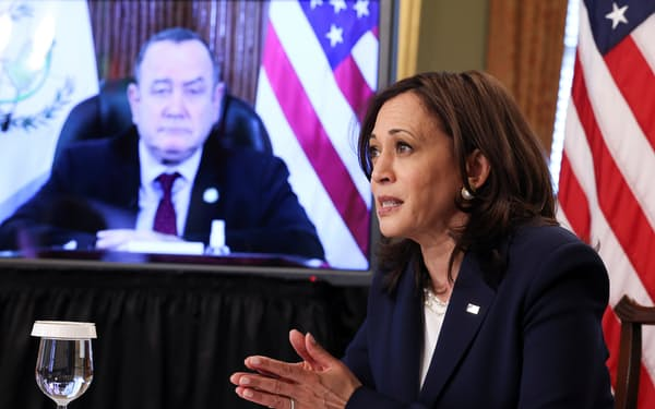 ハリス氏はグアテマラのジャマテイ大統領とビデオ会談し、不法移民問題などを協議した=ロイター