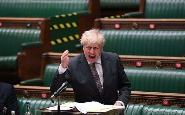 ジョンソン英首相は不適切な行為はないと強調した(4月21日、ロンドン)=英議会提供・ロイター