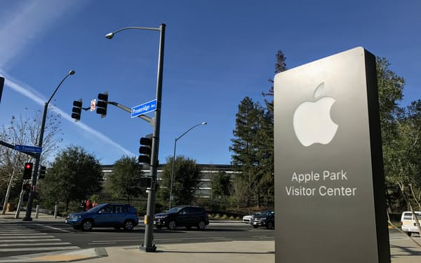 米アップルは基本ソフト(OS)のプライバシー保護機能を高める(米カリフォルニア州の本社)