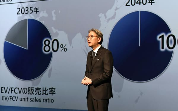 記者会見で「脱エンジン」を表明するホンダの三部敏宏社長(23日午後、東京都港区)