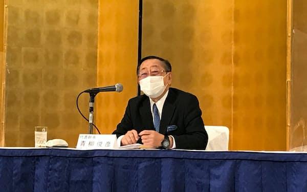 福岡経済同友会の新代表幹事にJR九州の青柳社長が就任(27日、福岡市)