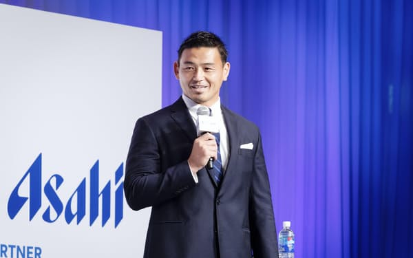 ラグビーW杯2023年フランス大会に関するオンライン発表会に参加した元日本代表の五郎丸歩さん=共同