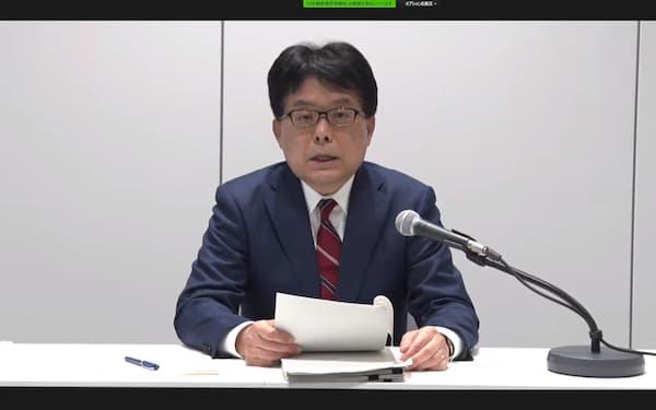 日本郵政の増田社長はオンライン会見で「次期中期経営計画はリアルとデジタルの融合が柱となる」と話した(28日)