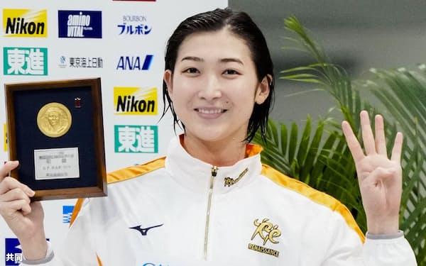 競泳日本選手権で4冠を達成した池江璃花子の活躍は、新型コロナウイルス禍で塞ぎがちな世の中に明るい話題を提供してくれた=共同