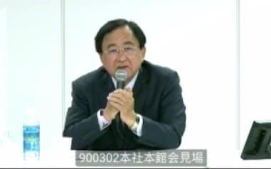 東京電力HDの新会長に内定し、オンラインで記者会見する小林喜光氏